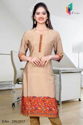 Red and Golden Italian Crepe Uniform Kurti