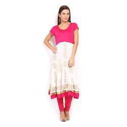 Ira Soleil Pink & White Block Printed Viscose Knitted