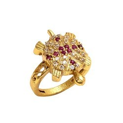 Kachua Gold Color Ring With AD Stone