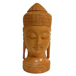 Hand Made Wooden Carving Buddha Head