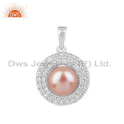 Zircon Natural Pink Pearl Gemstone Round Sterling Silver Pendants