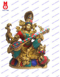 Goddess Saraswati Richly Carved W/ Stone Statue