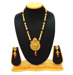Traditional Long Multi-color Pearl Necklace Set