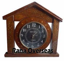 Sheesham Wood Hand Carved Brass Inlay Clock