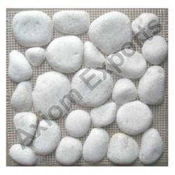 White Marble Pebble Stone Mosaic Tile / Cladding Tiles
