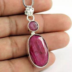 Hot Design Ruby Gemstone 925 Silver Pendant