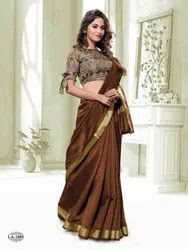 Silk India Plain Party Wear Saree, 5.5 m (separate blouse piece), With Blouse Piece
