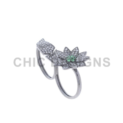 Flower Leaf Two Finger Ring