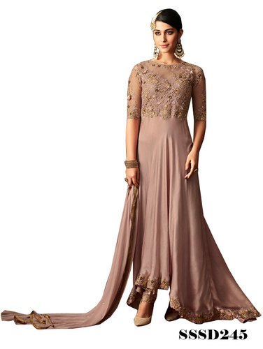 c072615220f233 Anarkali Suit - Matt Pink Designer Long Suit Manufacturer from Jodhpur
