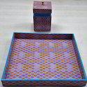 Wood Resin Printed Tray Box  And Tissue Box Sets