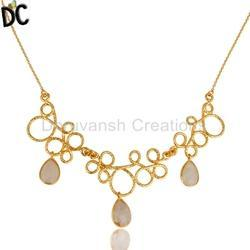 Handmade Wire Design Gold Plated Gemstone Necklace