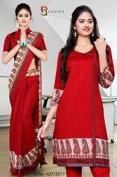 Red and Beige Silk Georgette Uniform Saree Kurti Combo