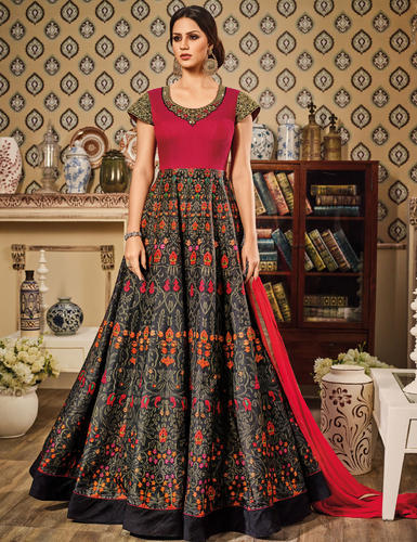7bf171d5f84 Embroidered Anarkali Suits - Charming Black And Pink Art Silk ...