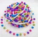 Multi colour pom pom lace