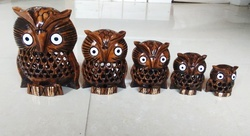Wooden Undercut Work Owl Set