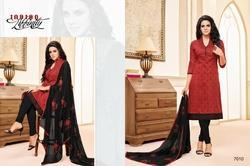 Collar Neck Red Maarisha Salwar Suit Fabric
