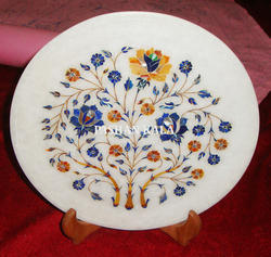 Round Marble Stone Inlay Plate