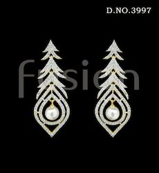 American Diamond Pearl Hanging Earring