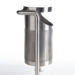 Stainless Steel Pole Dustbin With Hood