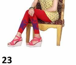 Red Printed Cotton Lycra Leggings