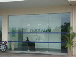 Glass door and partition