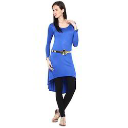 Ira Soleil Blue Viscose Knitted Stretchable High Low Tunic