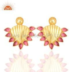 925 Silver Gold Plated Stud Earrings