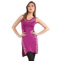 Ira Soleil Magenta Purple Block Printed Viscose Knitted