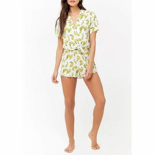 b438a1764 LADIES PYJAMA - Lemon Printed Tie Front Pajama Set Manufacturer from ...