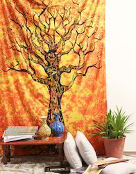 Psychedelic Tie Dye Yellow Tree Of Life Print Wall Coverings