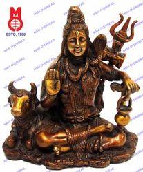 Lord Shiva Sitting W/ Nandi Statue