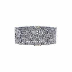 Silver Diamond Filigree Bangle