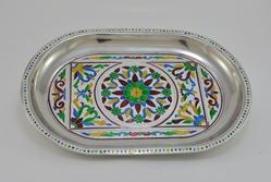 Royal Flower Designed S.S. Meenakari Decorative Tray -silver