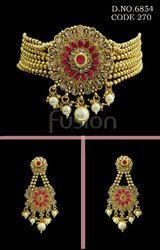 Antique Traditional Indian Designer Choker Necklace Set