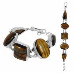 Modern Style Tiger Eye Gemstone Silver Bracelet