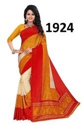 Yellow Printed Silk Saree