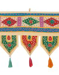 Cotton Patchwork Multicolor Embroidered Antique Door Hanging
