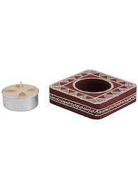 Chevron Wooden Candle Stand