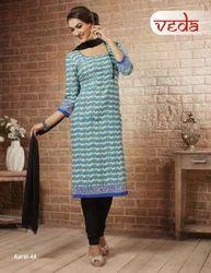 Cotton Dress Material With Chiffon Dupatta