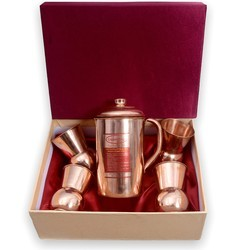 CopperKing Gift Set Jug With Four Dholak Glasses
