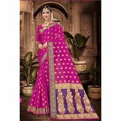 Chanderi Cotton Saree Blouse / Bottom Fabrics Dupatta Fabrics Chanderi Cotton