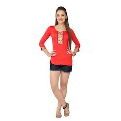 Ira-Soleil-Red-Viscose-Knitted-Stretchable-Lace-3-4-Sleeves