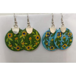 Green and Blue Pottery Earrings