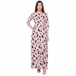 Printed Pink Leaf Print Maxi Dress