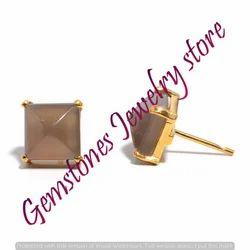 Grey Chalcedony Gemstone Ear Stud