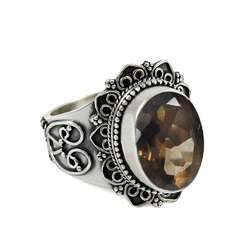 Secret 925 Sterling Silver Smoky Quartz Ring