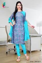 Purple and Blue Italian Crepe Uniform Salwar Kameez