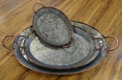 Oval Galvanized Trays W/copper Handles (Set Of 3)