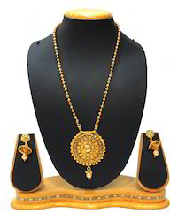 Traditional Long Golden Ball Pendent Necklace Set