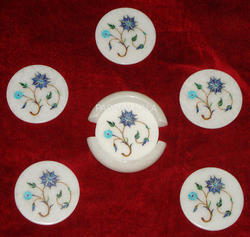 Marble Inlay Decorative Coasters Set